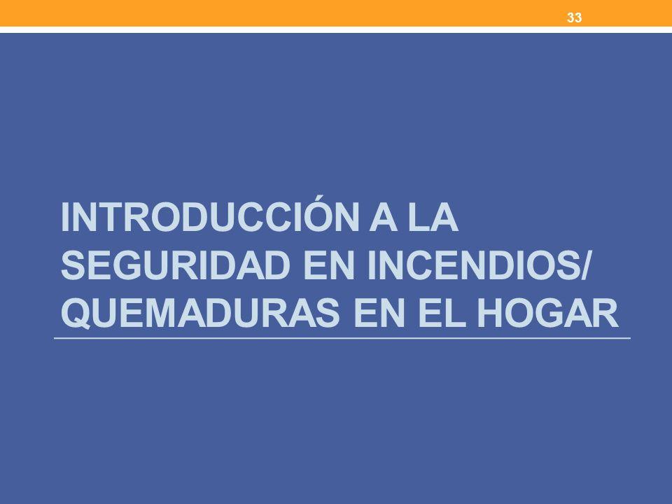 INTRODUCCIÓN A LA SEGURIDAD EN INCENDIOS/ QUEMADURAS EN EL HOGAR