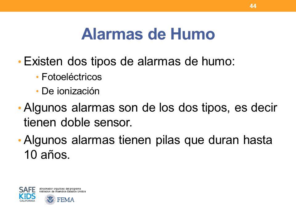 Alarmas de Humo Existen dos tipos de alarmas de humo: