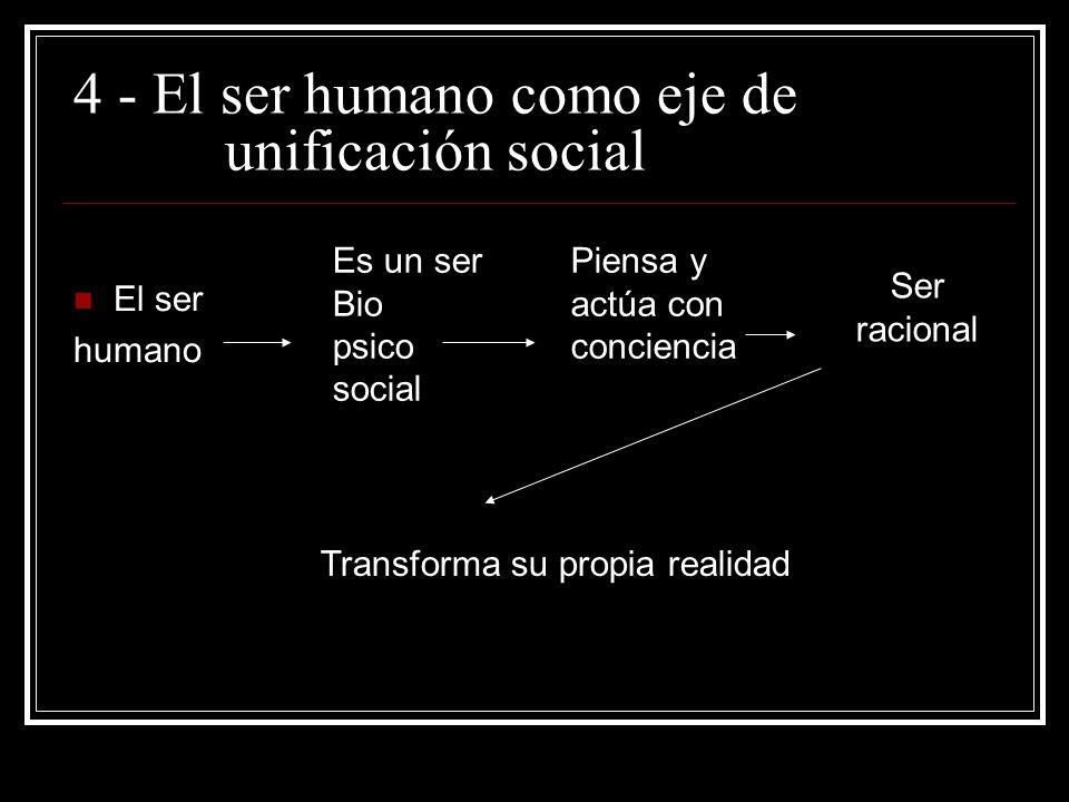 - 4 - El ser humano como eje de unificación social