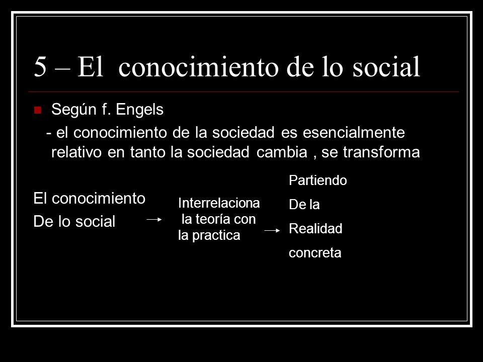 5 – El conocimiento de lo social