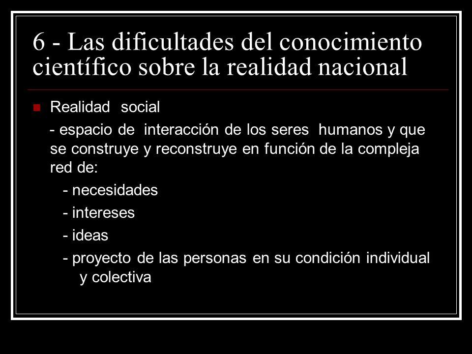 6 - Las dificultades del conocimiento científico sobre la realidad nacional