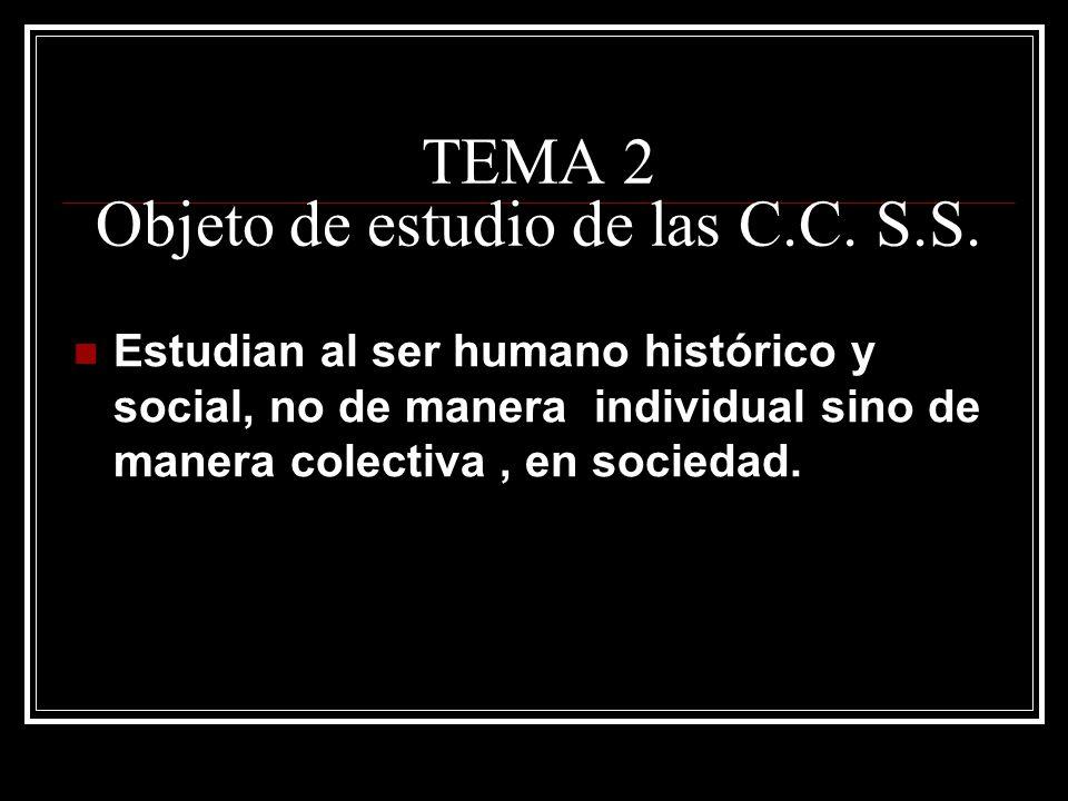 TEMA 2 Objeto de estudio de las C.C. S.S.