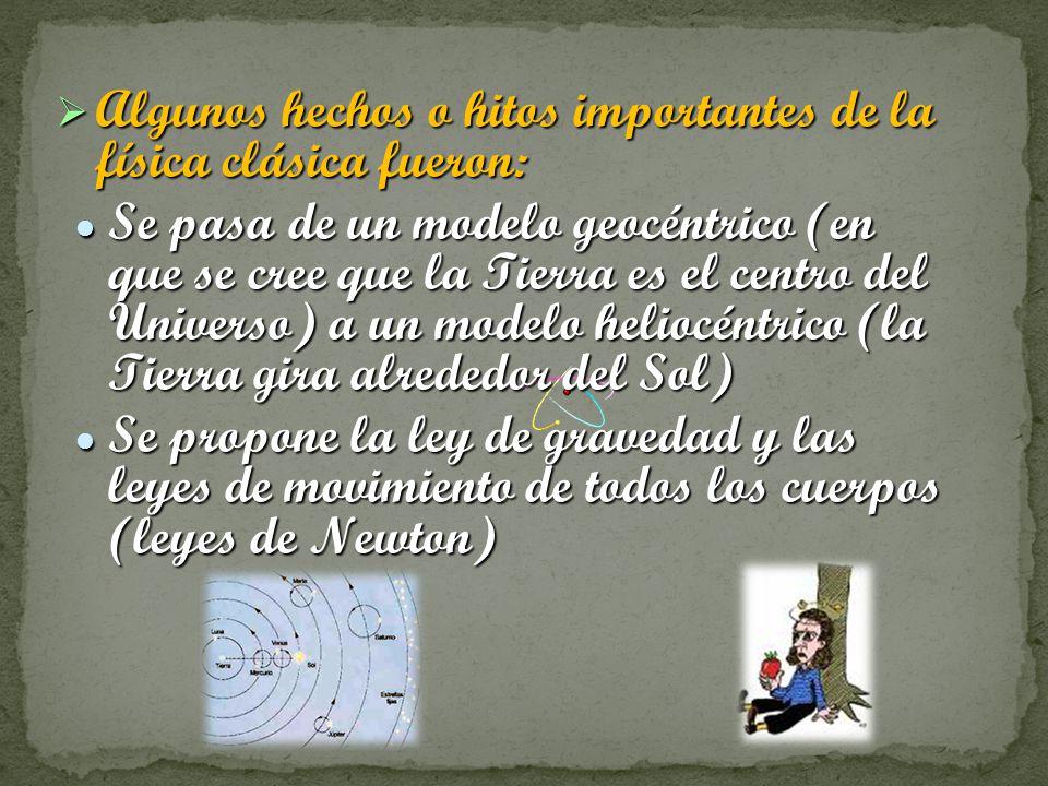Algunos hechos o hitos importantes de la física clásica fueron: