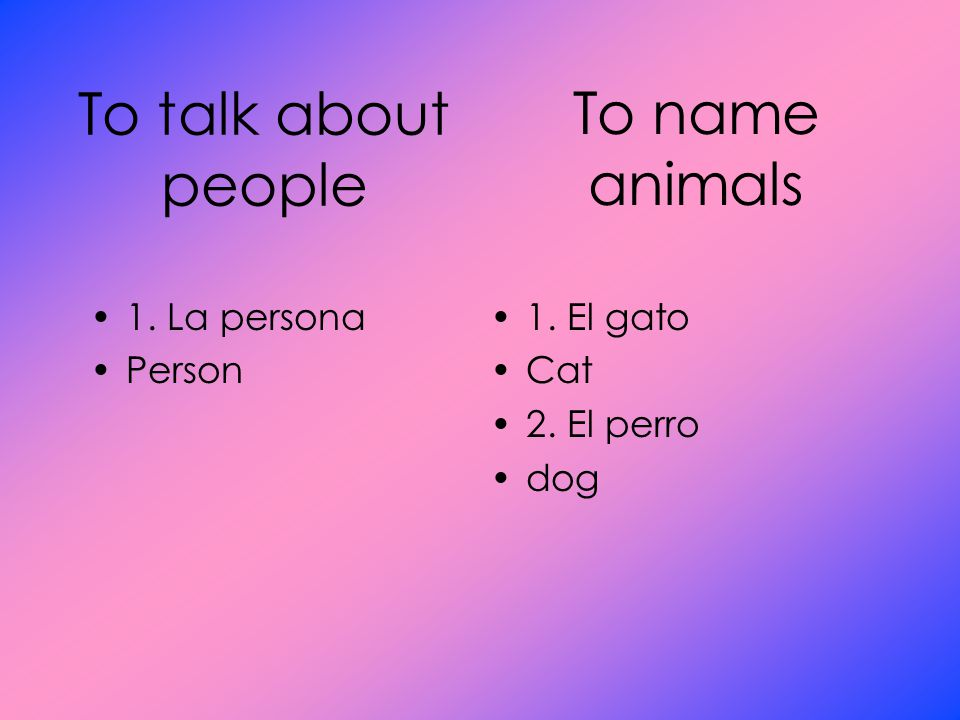 To name animals To talk about people 1. La persona Person 1. El gato