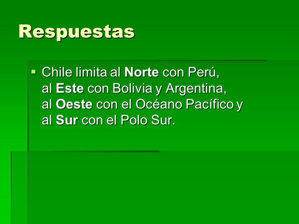 Respuestas Chile limita al Norte con Perú, al Este con Bolivia y Argentina, al Oeste con el Océano Pacífico y al Sur con el Polo Sur.