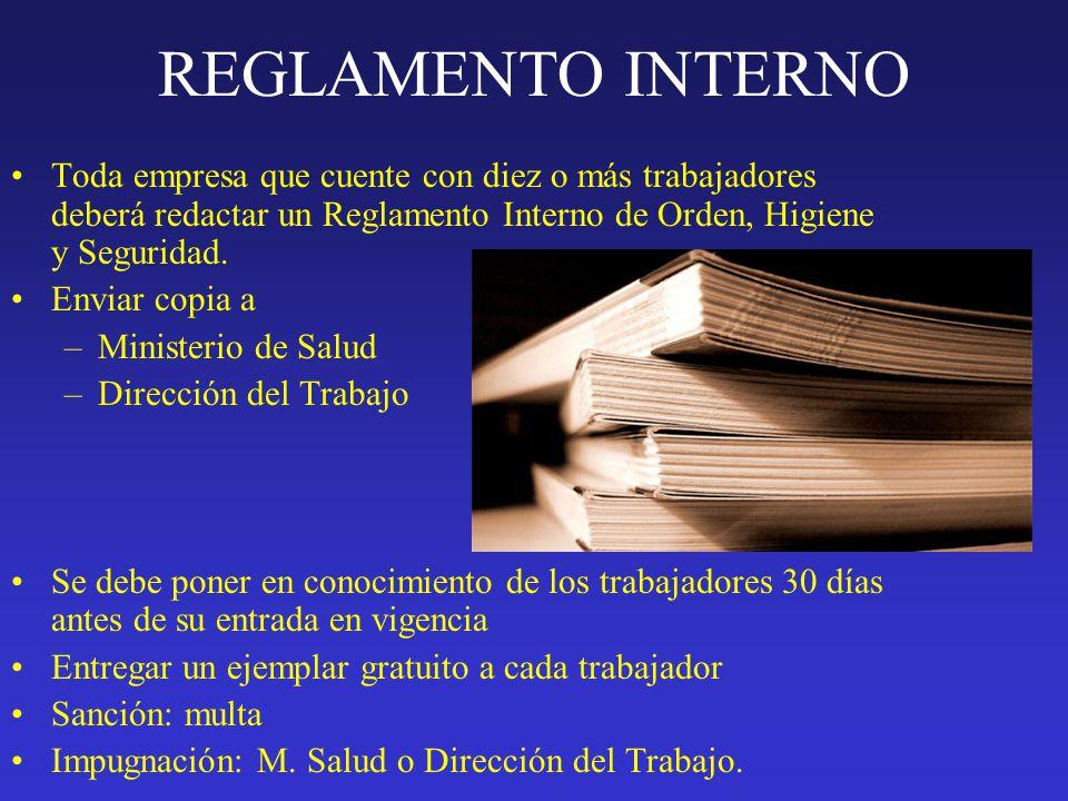 Reglamento interno de orden higiene y seguridad for Ministerio de seguridad telefonos internos