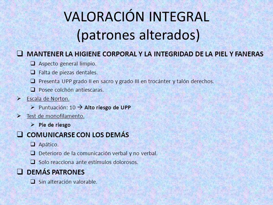 VALORACIÓN INTEGRAL (patrones alterados)