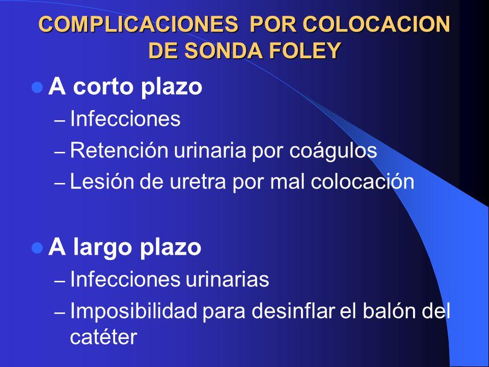 COMPLICACIONES POR COLOCACION DE SONDA FOLEY