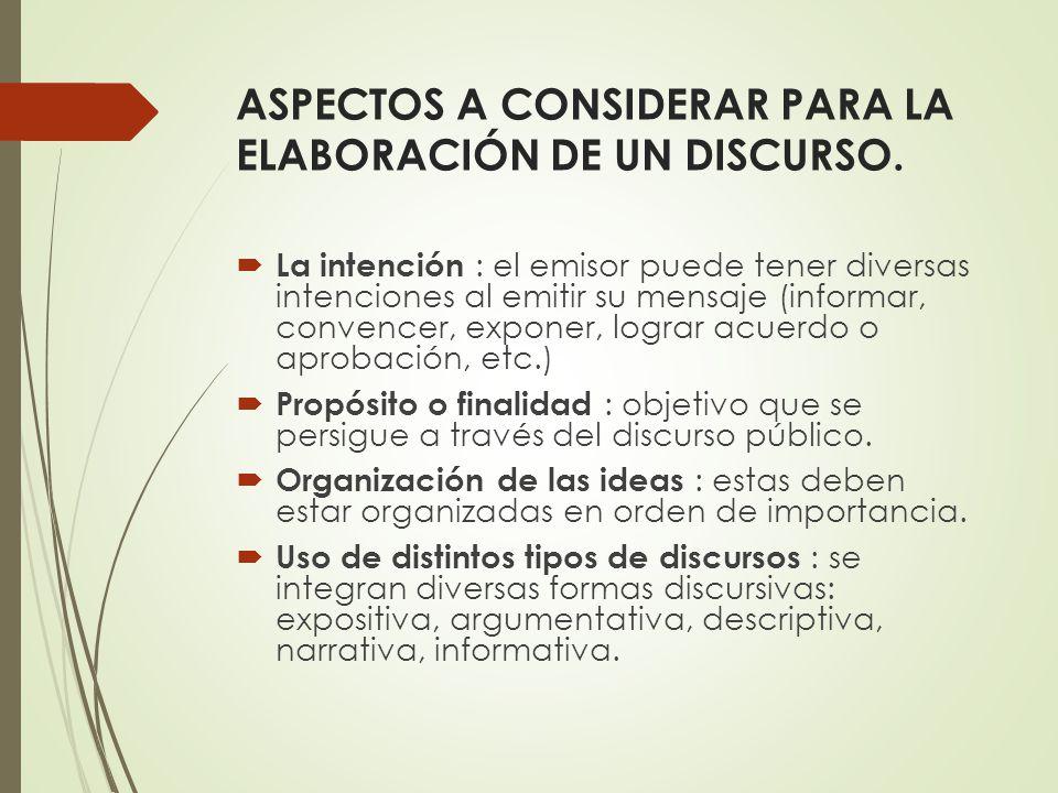 ASPECTOS A CONSIDERAR PARA LA ELABORACIÓN DE UN DISCURSO.