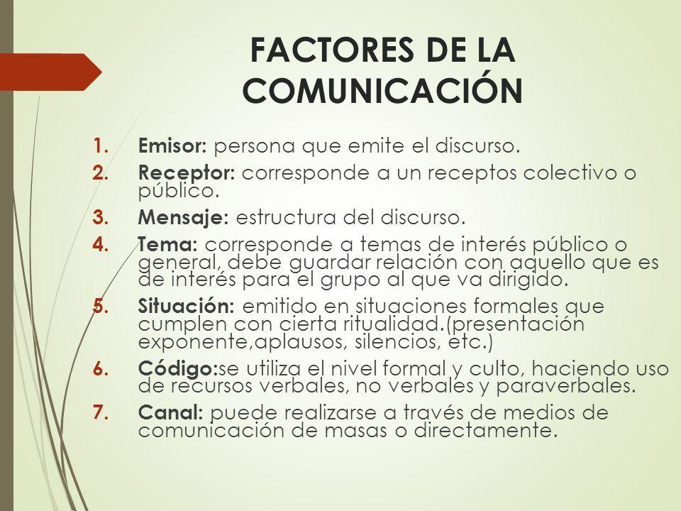 FACTORES DE LA COMUNICACIÓN