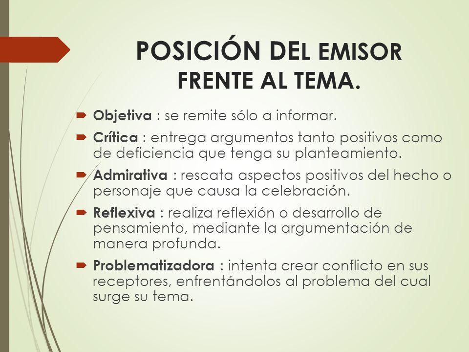 POSICIÓN DEL EMISOR FRENTE AL TEMA.