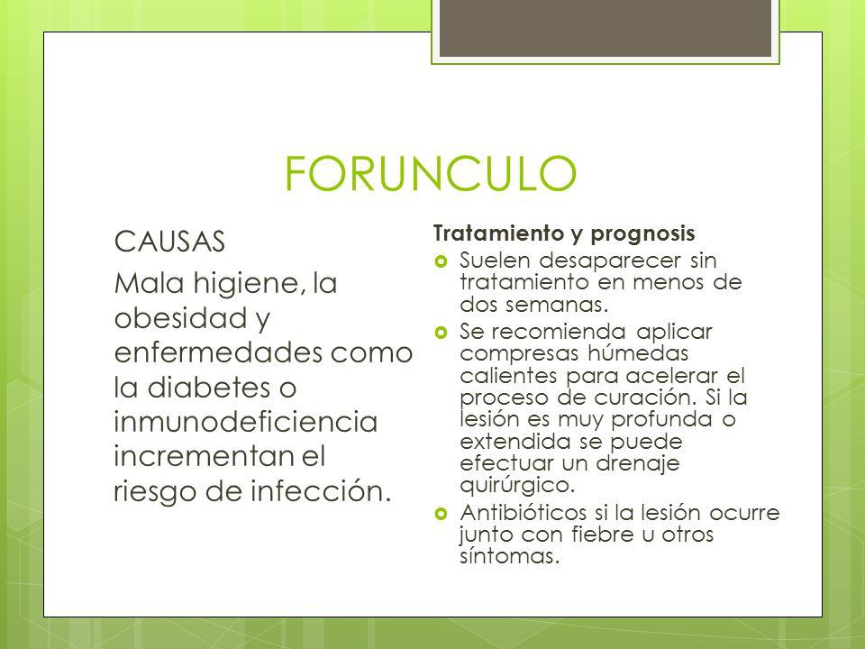 FORUNCULO CAUSAS. Mala higiene, la obesidad y enfermedades como la diabetes o inmunodeficiencia incrementan el riesgo de infección.