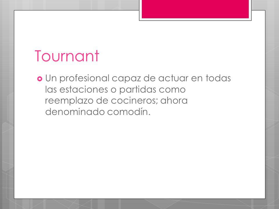 Tournant Un profesional capaz de actuar en todas las estaciones o partidas como reemplazo de cocineros; ahora denominado comodín.