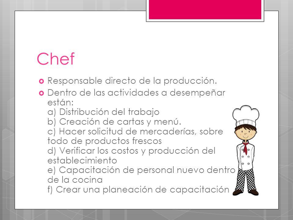 Chef Responsable directo de la producción.