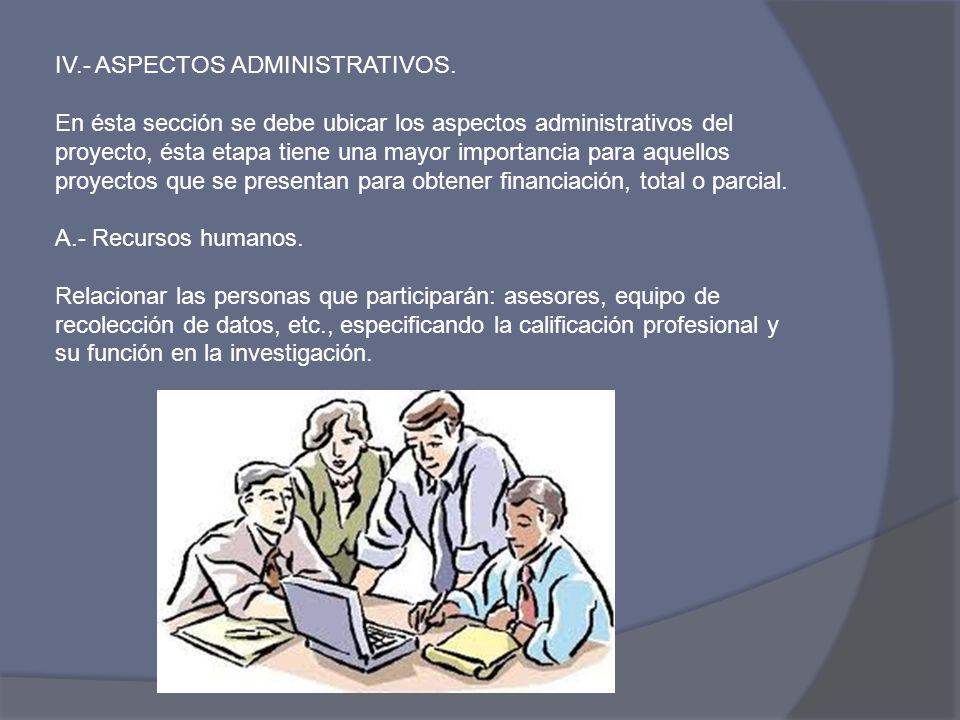 IV.- ASPECTOS ADMINISTRATIVOS.