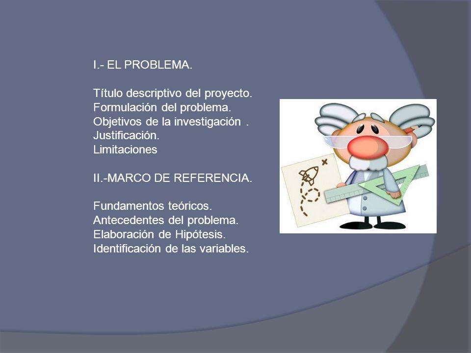I.- EL PROBLEMA. Título descriptivo del proyecto. Formulación del problema. Objetivos de la investigación .