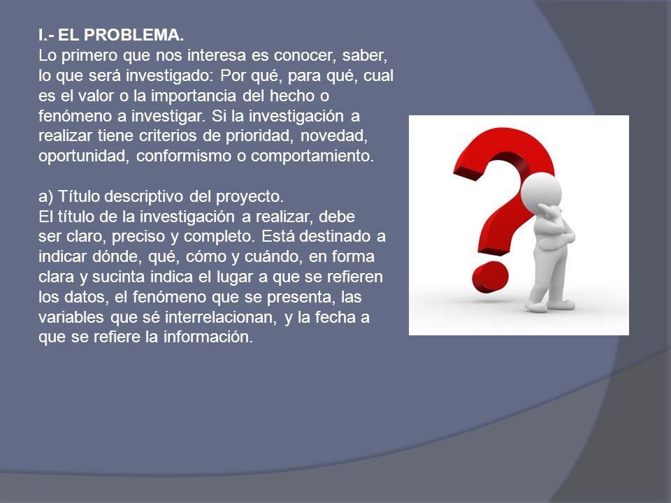 I.- EL PROBLEMA.