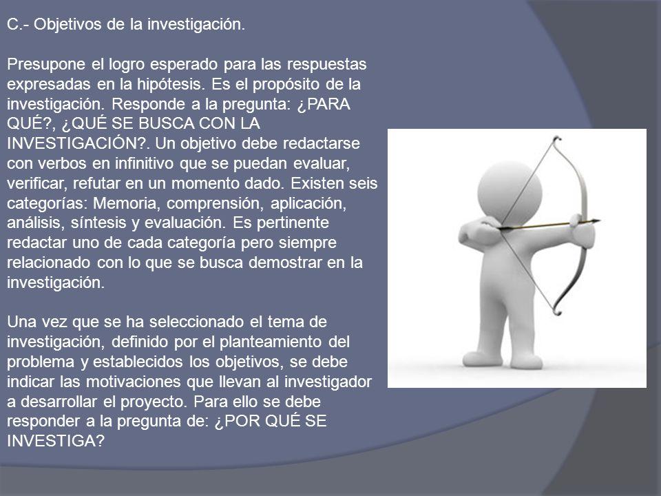 C.- Objetivos de la investigación.