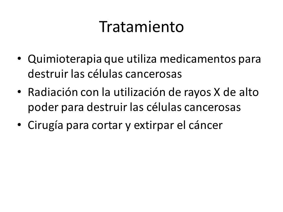 Tratamiento Quimioterapia que utiliza medicamentos para destruir las células cancerosas.