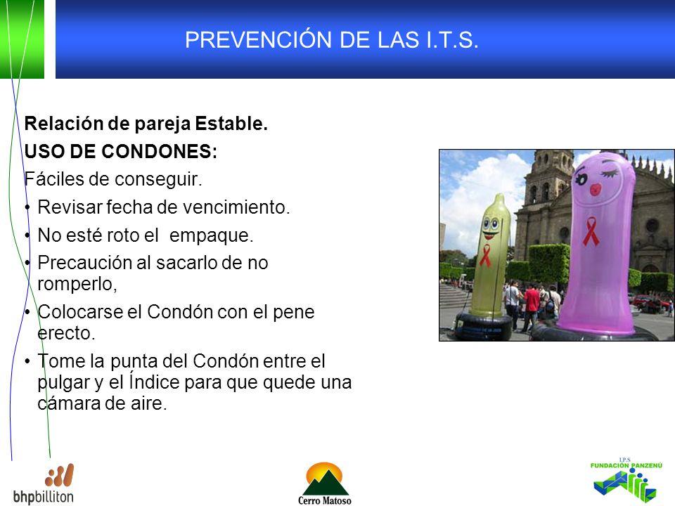 PREVENCIÓN DE LAS I.T.S. Relación de pareja Estable. USO DE CONDONES: