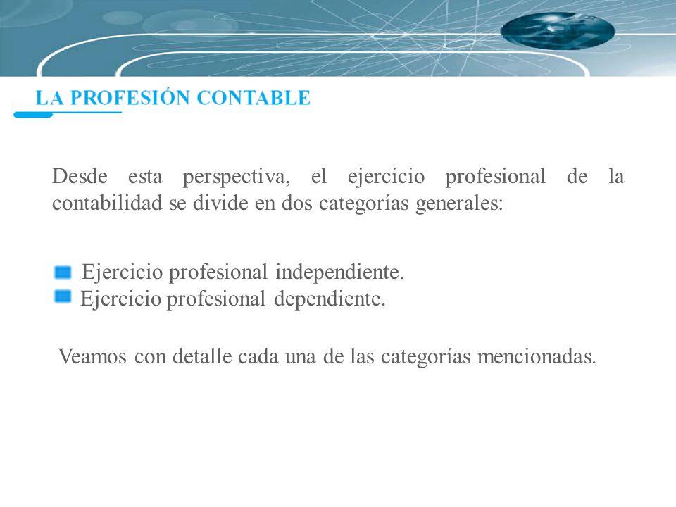Desde esta perspectiva, el ejercicio profesional de la contabilidad se divide en dos categorías generales: