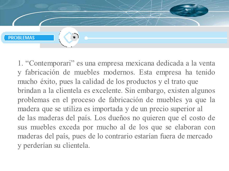 1. Contemporari es una empresa mexicana dedicada a la venta y fabricación de muebles modernos. Esta empresa ha tenido mucho éxito, pues la calidad de los productos y el trato que
