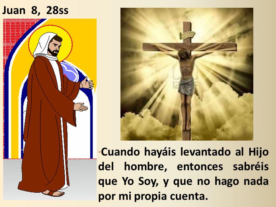 Juan 8, 28ss Cuando hayáis levantado al Hijo del hombre, entonces sabréis que Yo Soy, y que no hago nada por mi propia cuenta.