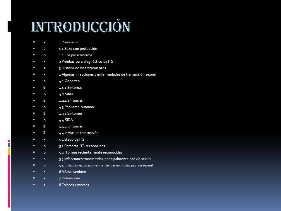 introducción • 1 Prevención o 1.1 Sexo con protección