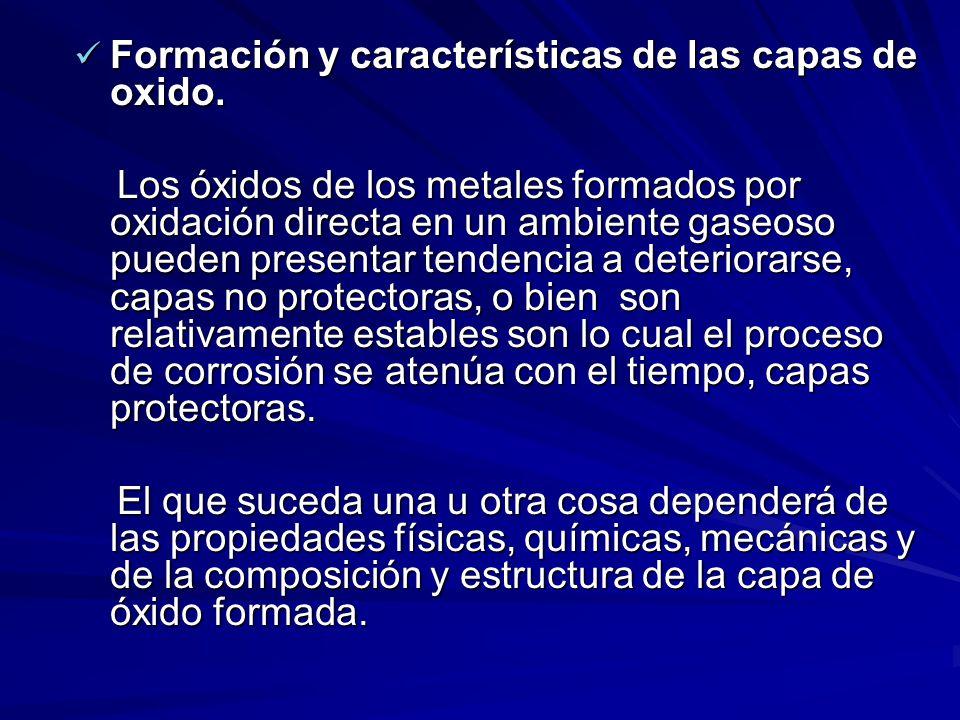 Formación y características de las capas de oxido.