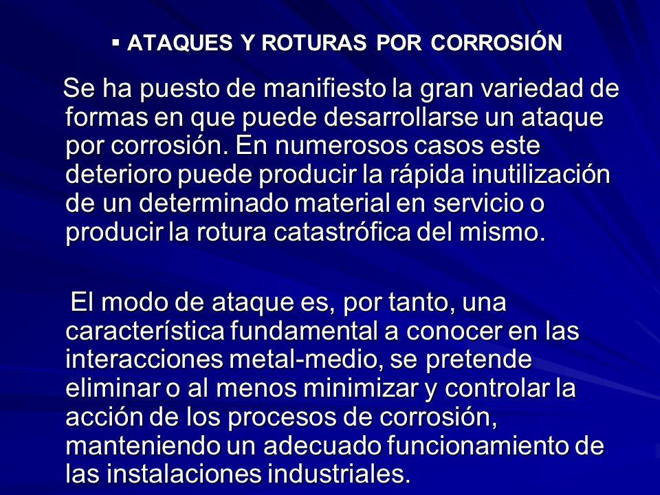 ATAQUES Y ROTURAS POR CORROSIÓN