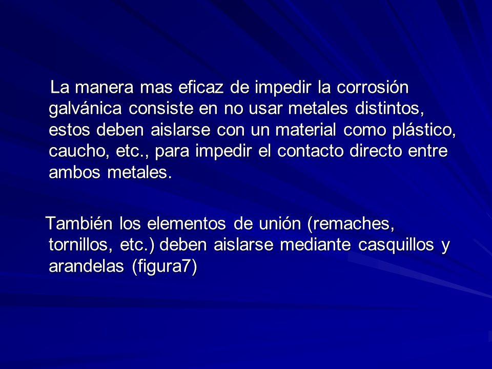 La manera mas eficaz de impedir la corrosión galvánica consiste en no usar metales distintos, estos deben aislarse con un material como plástico, caucho, etc., para impedir el contacto directo entre ambos metales.