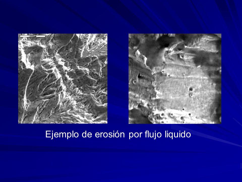 Ejemplo de erosión por flujo liquido