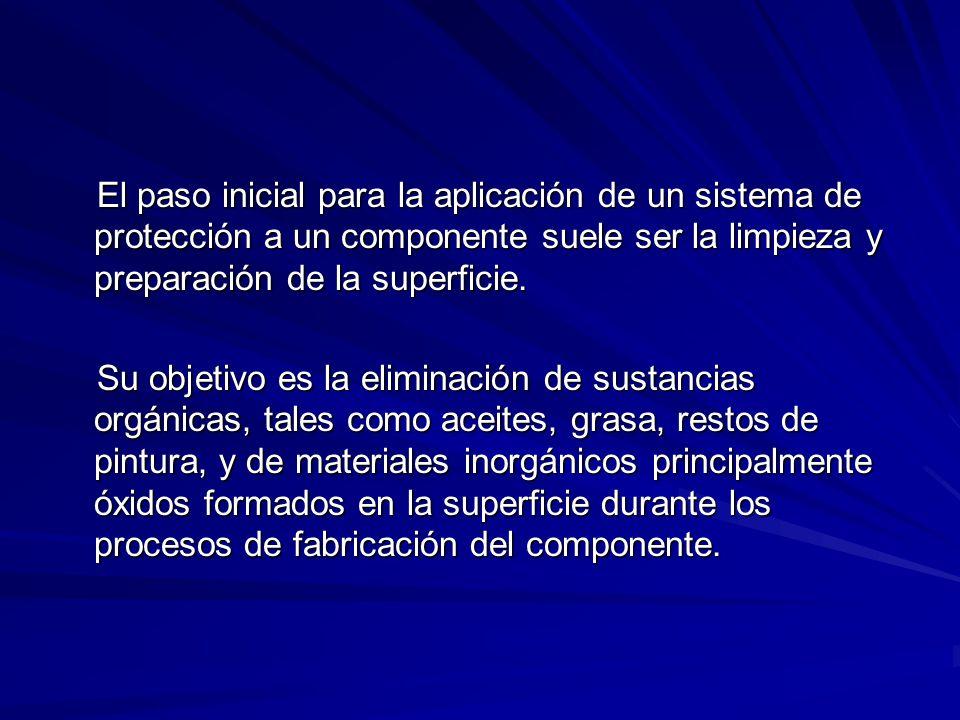 El paso inicial para la aplicación de un sistema de protección a un componente suele ser la limpieza y preparación de la superficie.