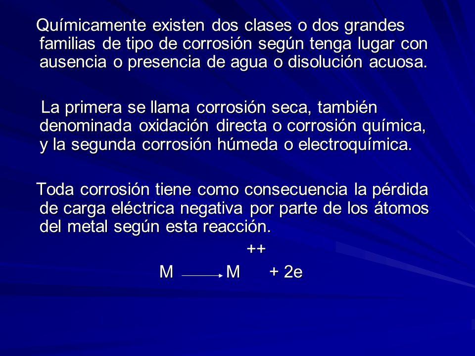 Químicamente existen dos clases o dos grandes familias de tipo de corrosión según tenga lugar con ausencia o presencia de agua o disolución acuosa.