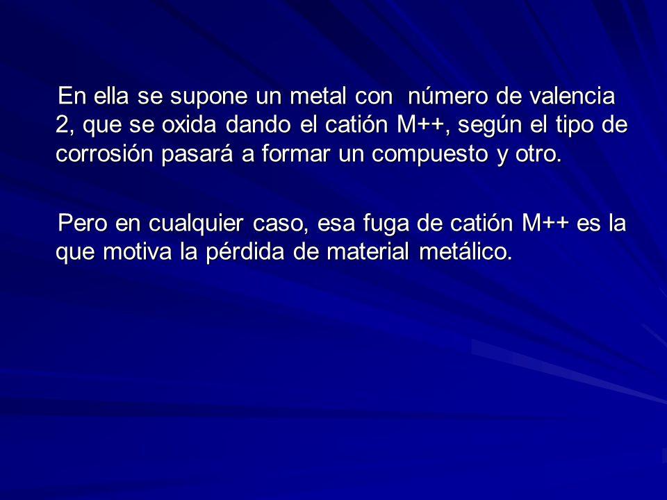 En ella se supone un metal con número de valencia 2, que se oxida dando el catión M++, según el tipo de corrosión pasará a formar un compuesto y otro.
