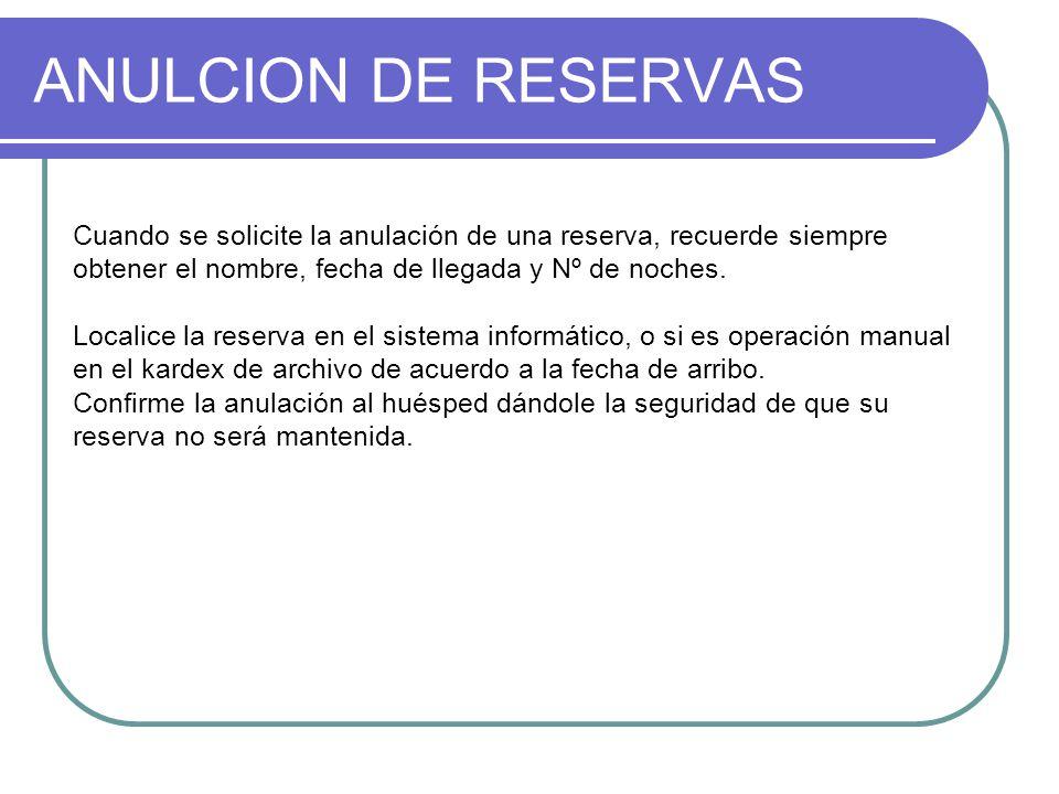 ANULCION DE RESERVAS Cuando se solicite la anulación de una reserva, recuerde siempre obtener el nombre, fecha de llegada y Nº de noches.