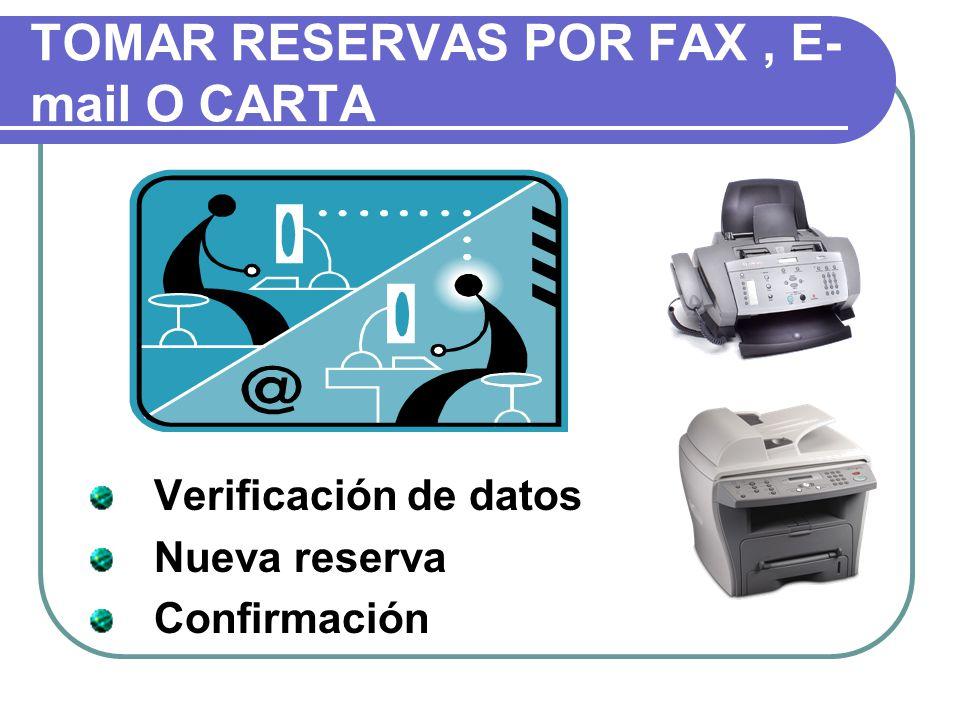 TOMAR RESERVAS POR FAX , E- mail O CARTA