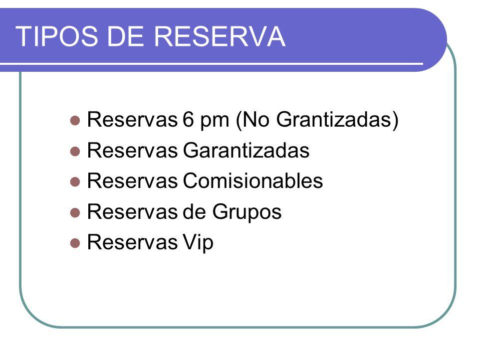 TIPOS DE RESERVA Reservas 6 pm (No Grantizadas) Reservas Garantizadas