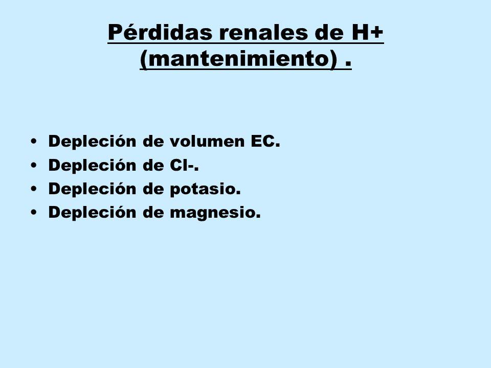 Pérdidas renales de H+ (mantenimiento) .