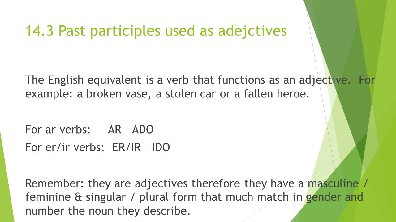 14.3 Past participles used as adejctives