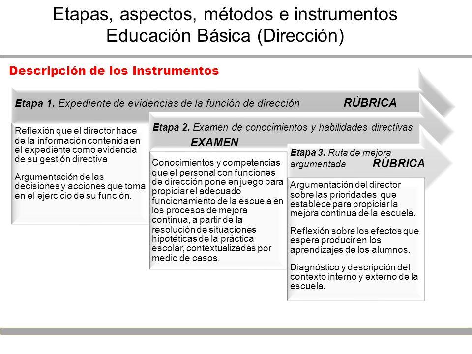 Etapas, aspectos, métodos e instrumentos Educación Básica (Dirección)