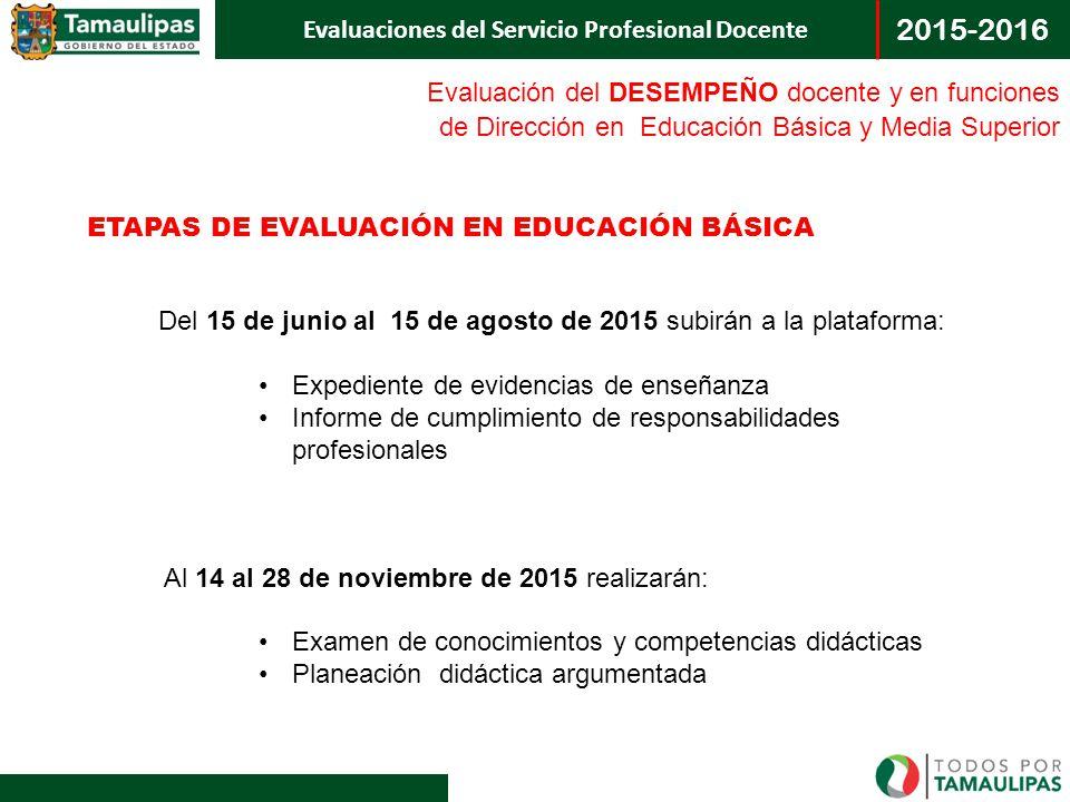 Evaluación del DESEMPEÑO docente y en funciones de Dirección en Educación Básica y Media Superior