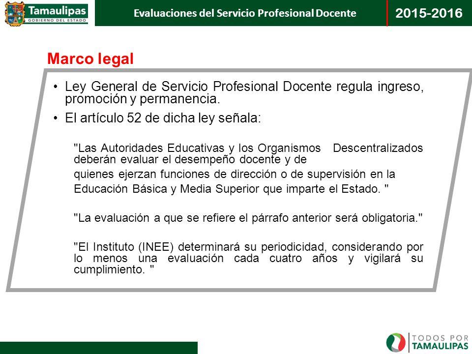 Marco legal Ley General de Servicio Profesional Docente regula ingreso, promoción y permanencia. El artículo 52 de dicha ley señala: