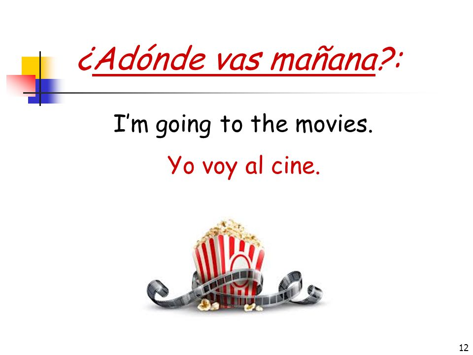 ¿Adónde vas mañana : I'm going to the movies. Yo voy al cine.