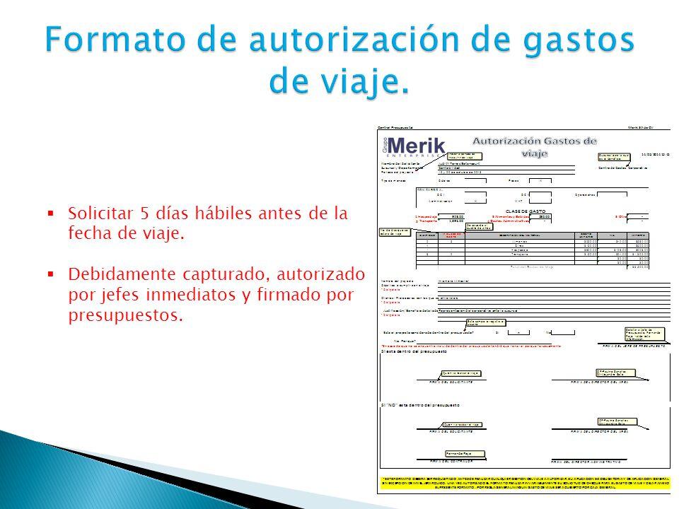 Formato de autorización de gastos de viaje.