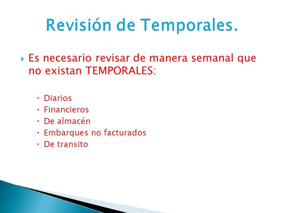 Revisión de Temporales.