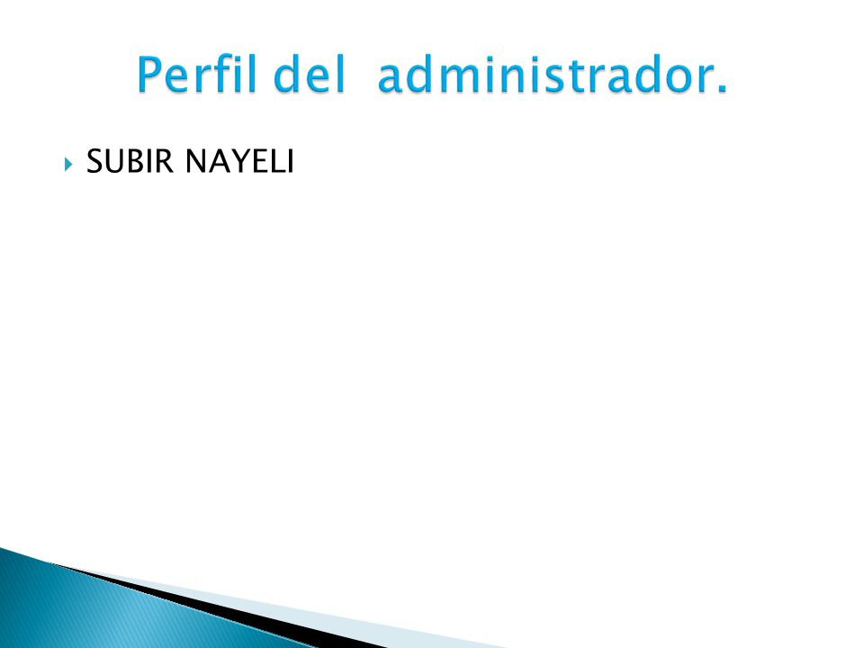 Perfil del administrador.