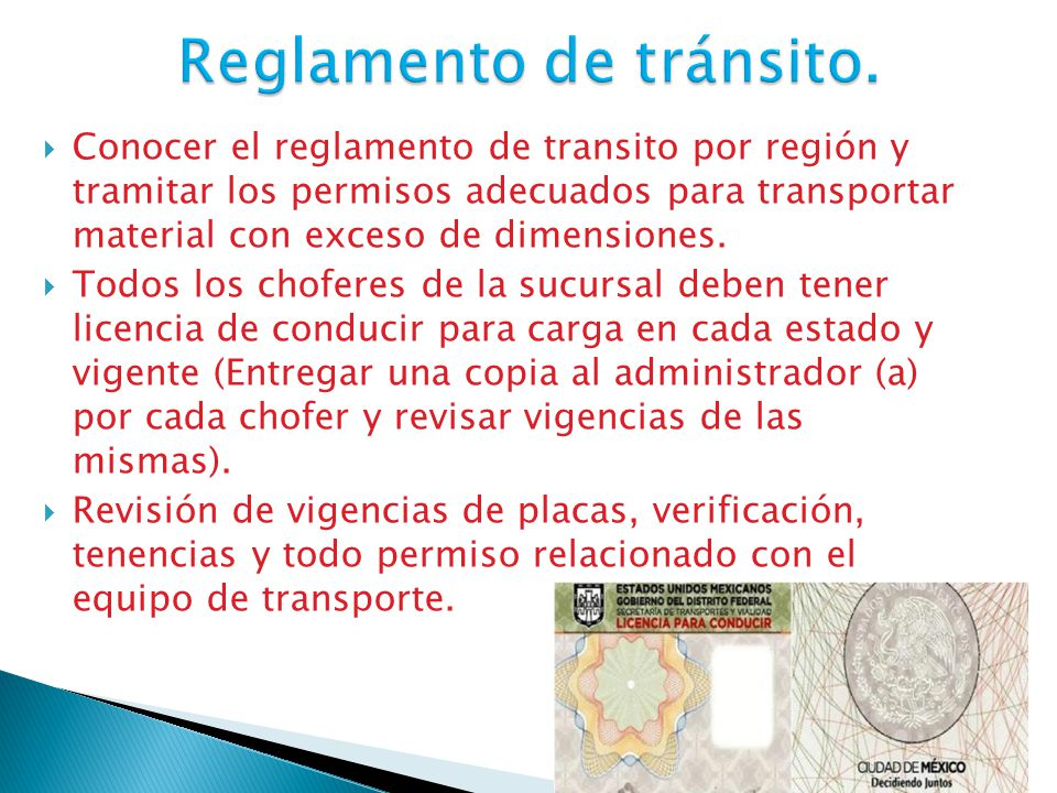 Reglamento de tránsito.