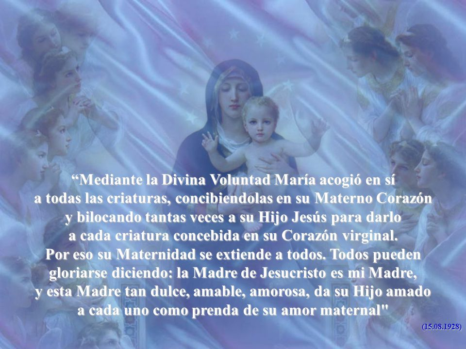 Mediante la Divina Voluntad María acogió en sí