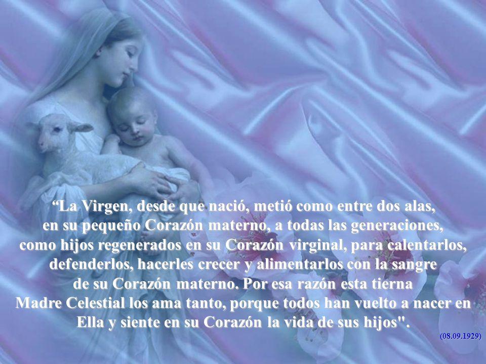 La Virgen, desde que nació, metió como entre dos alas,